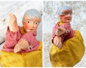 Vintage Antique 1900/1930  French  puppet compo paper mache head punch & Guignol / Girl