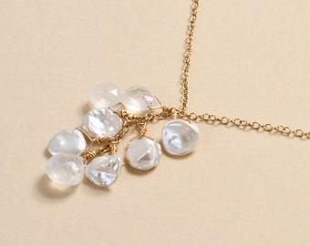 Beach Wedding Necklace, Moonstone Necklace, Beachy Bridal Jewelry, June Birthstone, Keshi Pearl, Rainbow Moonstone
