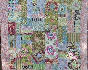 "Modern Improv Quilt With Amy Butler Gypsy Caravan Fabrics 58"" x 60"""