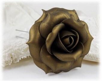 Bronze Rose Hair Clip Pin - Bronze Rose Hair Flower, Bronze Flower Hair Pin