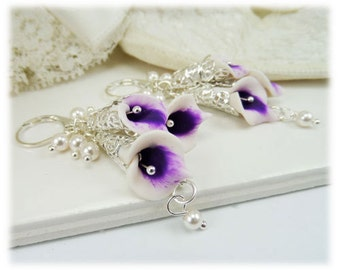 Cascading Purple Picasso Calla Lily Earrings - Picasso Calla Lily Jewelry Collection