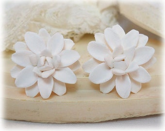 White Dahlia Earrings Stud or Clip On - Dahlia Jewelry Collection