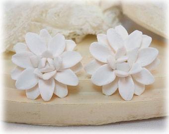White Dahlia Earrings Stud or Clip On - Dahlia Jewelry