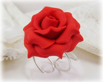 Large Red Rose Ring - Red Rose Jewelry, Red Flower Ring