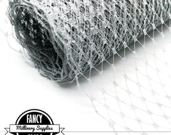 Metallic Silver  - French - Russian - Veiling - Netting - 1 Yard - Millinery - Birdcage Veils