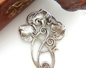 SILVER Art Deco Lily Pads Motif Stamping - Jewelry Antique Silver Findings (FB-6051)