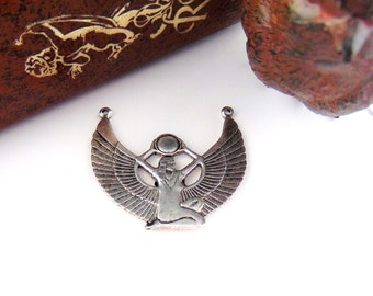 CLOSEOUT * Antique Silver ISIS Egyptian Goddess Stamping ~ Jewelry Pendant Finding ~ Woman Stamping (D-9)