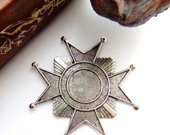 SILVER (2 Pieces) Cross Art Deco Star Stamping - Jewelry Antique Silver Findings (FB-6094) #