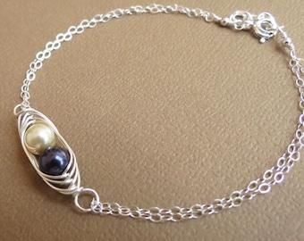 Sterling Silver Bracelet, Pea in a Pod Bracelet, Silver Bracelet,Pearl Jewelry,Wedding Bracelet,Flower Girl,Swarovski Pearls,Mother Jewelry