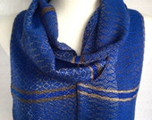 Shades of Khaki to Gray with Royal Blue Bamboo Handwoven Scarf
