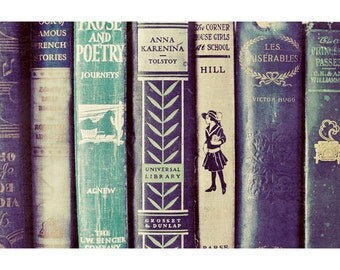 Still Life Photography, Vintage Books Photo, Home Decor, Bedroom, Office, Nursery, Classic Books Print, Abstract, Blue, Green