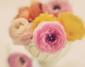 Still Life, Flower Photography, Ranunculus, Pink, Yellow, Vintage Colors, Kitchen Decor, Modern, Fresh, Pretty, Wall Art, Mothers Day