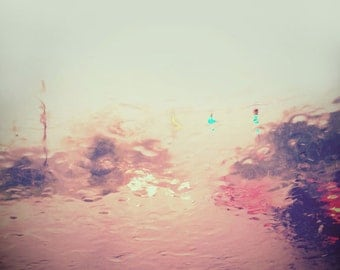Abstract Photography, Dreamy Landscape, Fine Art Print, Mint, Yellow, Ethereal, Street Scene, Rain, Puddle, Reflection, Home Decor