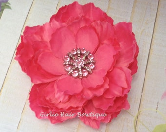 "Hot Pink Flower Clip Hot Pink Hair Clip 5"" Peony Hair Clip Pink Rhinestone Flower Clip Wedding Bridesmaid Flower Girl Hair Clip Hair Flower"