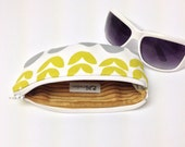 Eyeglass Case, Sunglasses Case, Glasses Sleeve, Fabric Sunglass Holder, Yellow Flowers and Gray Dots on White