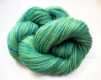 Hand painted alpaca, luxury yarn, laceweight, super soft, variegated greens