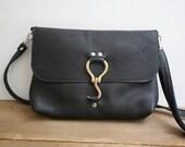 Farrier Messenger Bag in Black // Leather Messenger Bag / Black Leather Crossbody Bag / Crossbody Purse