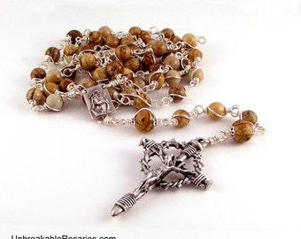 Holy Face of Jesus Wire Wrapped Rosary Beads for Men in Brown Picture Jasper  with Nail Crucifix by Unbreakable Rosaries