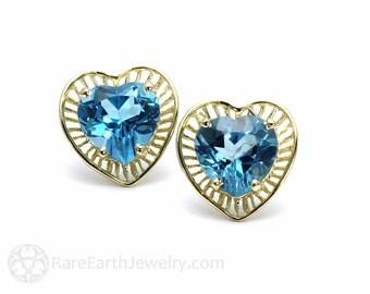 Gemstone Earrings Heart Earrings Birthstone Earrings 14K Gold Stud Studs Amethyst Citrine Blue Topaz Post Earrings