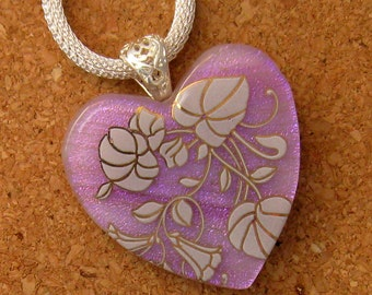 Dichroic Heart Pendant - Fused Glass Pendant - Dichroic Jewelry - Valentine Jewelry