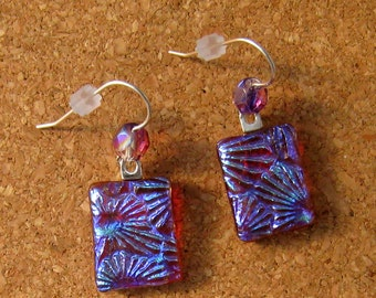 Dichroic Earrings - Glass Earrings - Fused Glass Earrings - Dichroic Jewelry - Fused Glass Jewelry