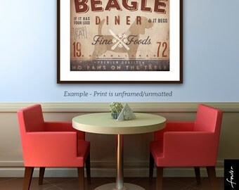 Beagle Diner Kitchen Chef dog illustration artwork UNFRAMED giclee signed print by Stephen Fowler