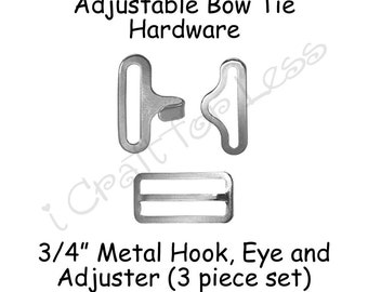 "5 Sets Bow Tie Hardware Clips - Rectangle Slide Adjuster, Hook and Eye - 3/4"" Silver Metal - SEE COUPON"