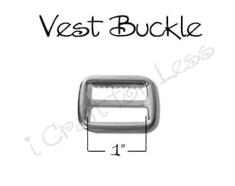 "25 - 1"" Vest Buckle with Teeth / Adjustable Suspender Slide - Nickel Plated - SEE COUPON"