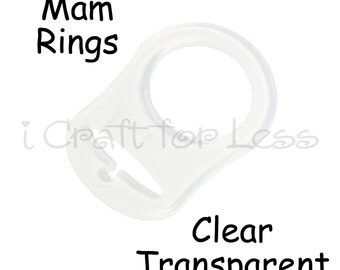 25 Clear Silicone Mam Rings - Dummy / Pacifier Attachment Adapters - CPSIA Compliant - SEE COUPON