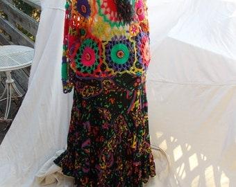 Custom Ensemble Outfit hand painted Dr Martens Mary JAnes sz 7.5,  Skirt,  Crochet Top, knit scarf A sz 12 Ensemble plus Mystery Bonus