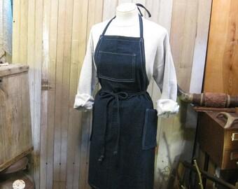 Blue Denim Apron Workshop Handmade USA apron Indigo denim Kitchen Garden men and women