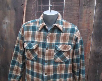 Vintage Pendleton Shirt brown Plaid Pendleton 70s Board Shirt Brown plaid wool Pendleton M L