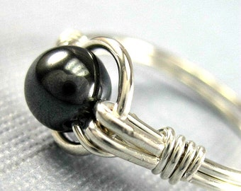 Hematite Ring Wire Wrapped Sterling Silver O Loop