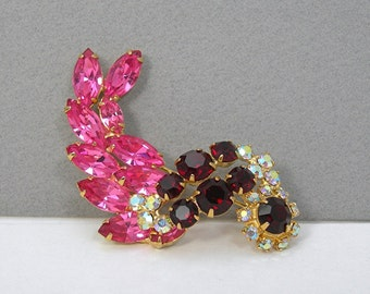 Vintage Rhinestone Brooch, Red Pink Clear AB Stones, 1970 era Costume Jewelry, Prongset Stones