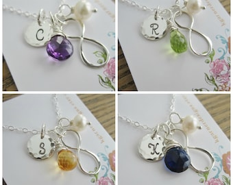 Bridesmaid jewelry set, bridesmaid necklace set, personalized bridesmaid necklace, infinity necklace with birthstone silver initial necklace