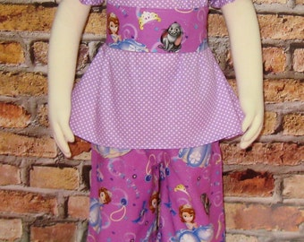 Girls Outfits, Toddler Outfits, Girls Set, Ruffle Pant, Peasant Top, Purple Outfit,Pant and Top set made with Sofia The Fabric
