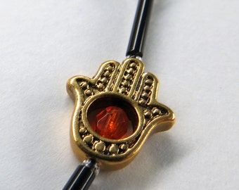 Red Crystal Hamsa Hand of Fatima Eyeglasses Chain