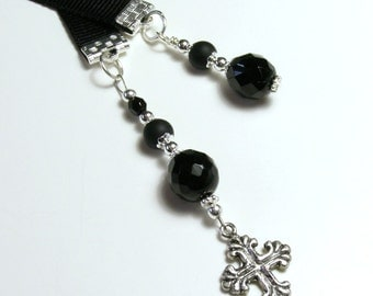 Ribbon Bookmark Charm Cross Beaded Glass Black and Silver