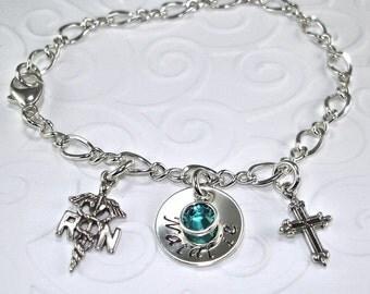 "Personalized Jewelry, Hand Stamped, RN Nurse Bracelet, Nursing Student Gift, Sterling Silver, Charm 5/8"", Birthstone, Cross, RN Graduation"