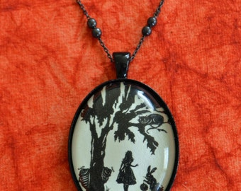 ALICE IN WONDERLAND Necklace - pendant on chain - Silhouette Jewelry