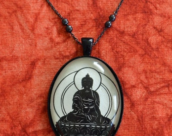 Sale 20% Off // BUDDHA Necklace, pendant on chain - Silhouette Jewelry // Coupon Code SALE20