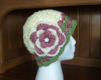 Hat,Women,Ladies,Gift,Crocheted,Mauve,Green,Cream,Soft,Flower,Accessories