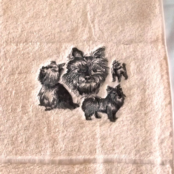 Yorkie yorkshire terrier dog embroidered bath towel gift