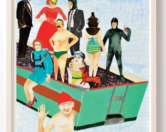 Art, Humor, Vintage,1980, Jacques Cousteau, Quirky, Retro, Boat, Scuba, ocean, Oceanography, Boat Party-  Fine Art Print