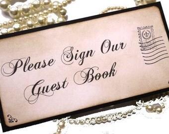 Wedding Sign, Guest Book Sign, Postcard Wedding Sign, Vintage Wedding, Sign Our Guest Book, Destination Wedding