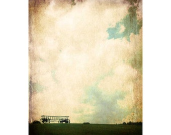 Wagon n' the Clouds - Fairfield Maine - nostalgic photo - vintage art