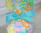 Turn Up Ponytail Scrub Hat with Colorful Easter Eggs CHOOSE RIBBON COLOR