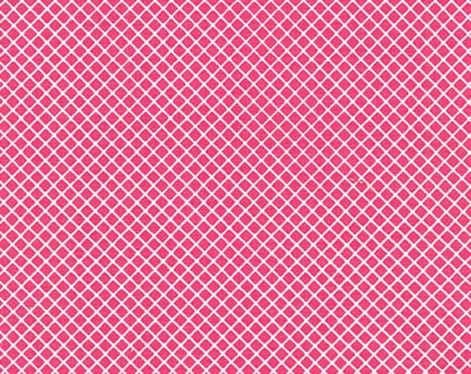 Remix Fabric, Cotton Fabric, Diamond Crosshatch fabric by Ann Kelle for Robert Kaufman-Diamond in Hot Pink, Pink fabric, Choose your cut