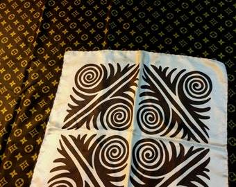 Two Beautiful 70s and 80s Vintage Scarves in Brown Prints