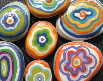 DREAMY STONES...7 hand painted beach stones, home decor, house warming design